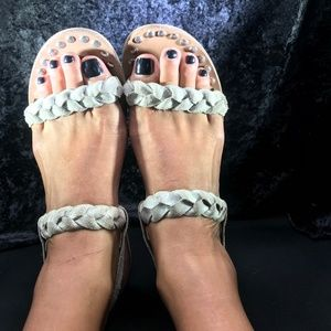 Steve Madden Silver Braided Leather Sandals
